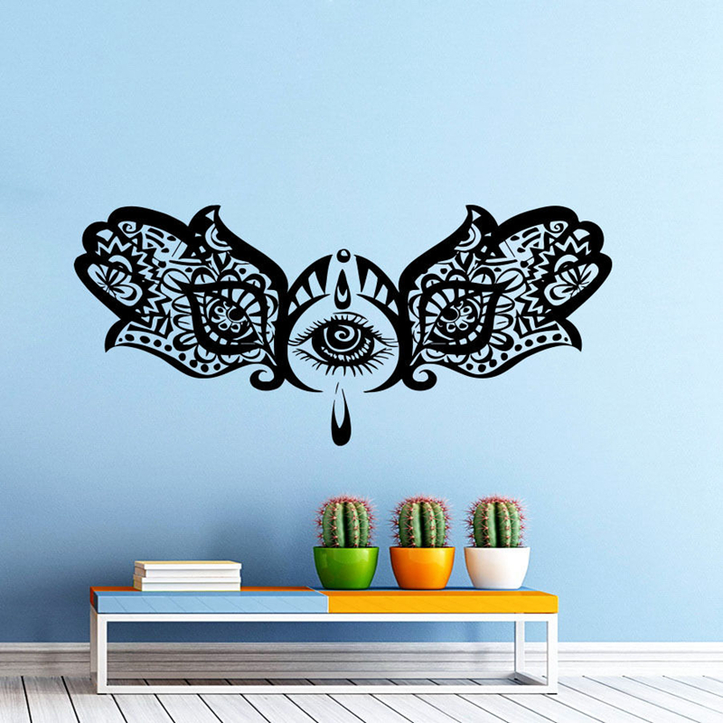 Hand Buddha Quotes Namaste Wall Decals Yoga Mandala Wall Stickers For Living Rooms DIY Home Decor Yoga Art Mural Decoration diy photo frame tree home decals wall stickers
