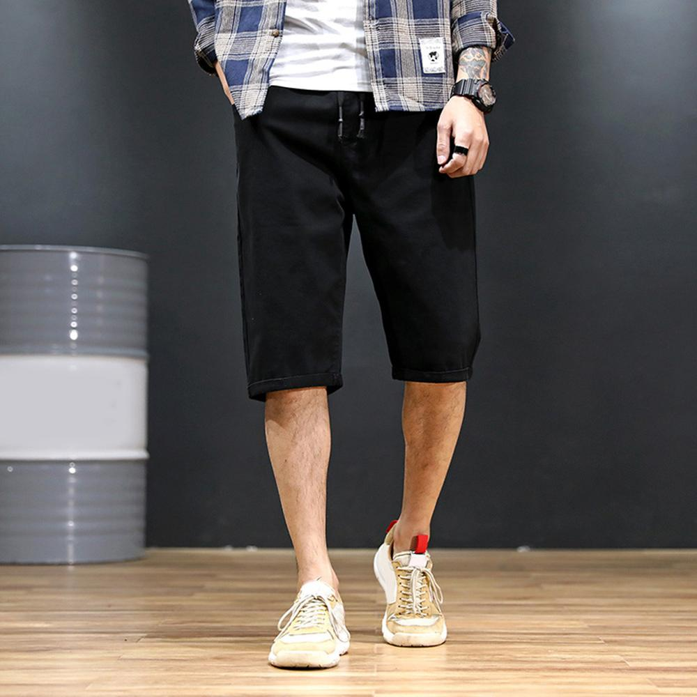 Men's New Fashion Summer Loose Straight Solid Casual Drawstring Short Pants Oversized Wide Leg Pants Male High Street Loose
