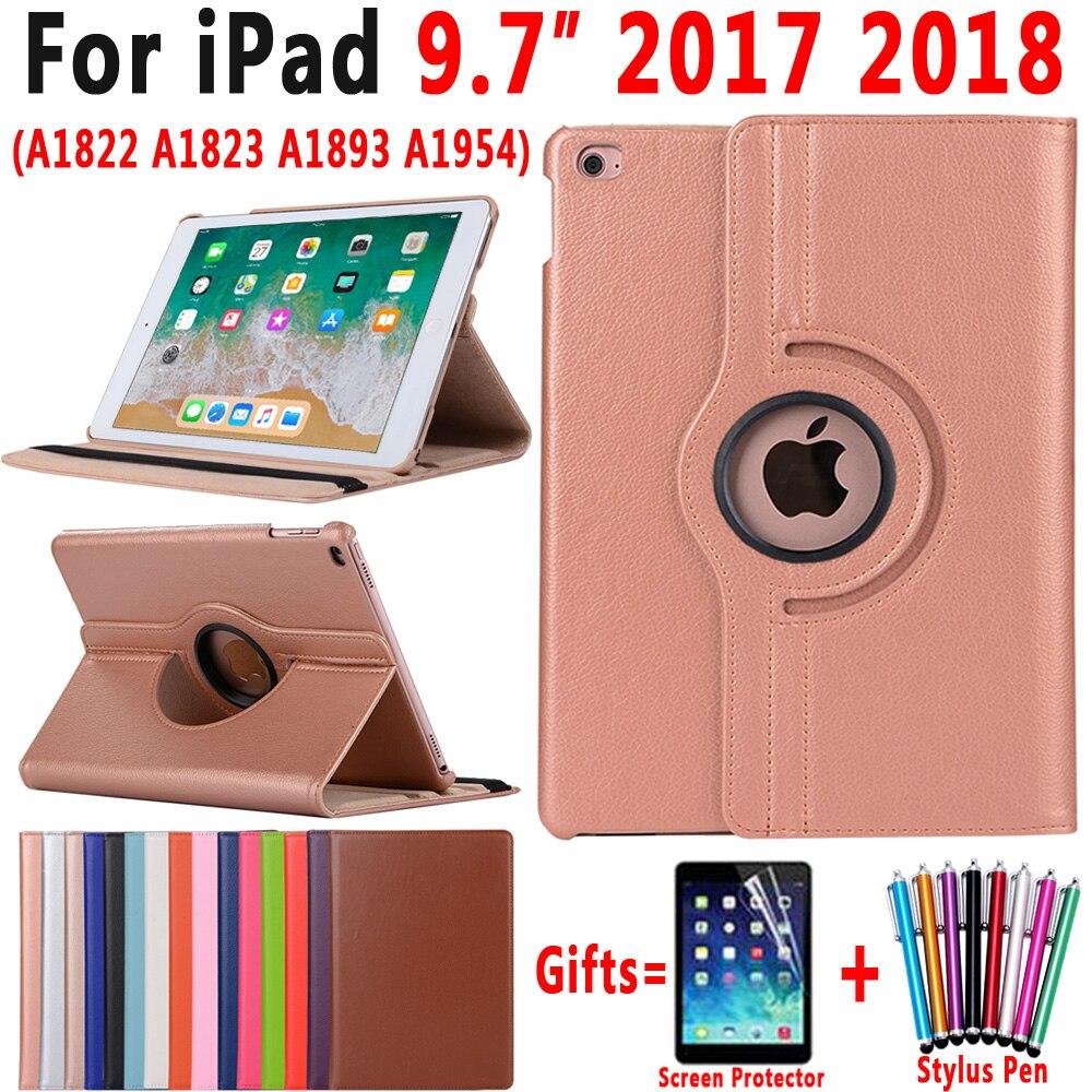 360 grad Rotierenden Leder Smart Cover Fall für Apple iPad 9,7 2018 2017 A1822 A1823 A1893 A1954 5th 6th 5 6 Generation Funda
