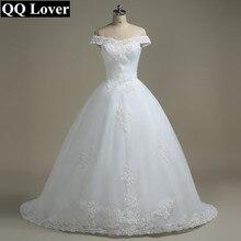 QQ Người Yêu Lệch Vai Váy Cưới Đầm Vestido De Noiva Thuyền Cổ Cô Dâu Váy Cưới