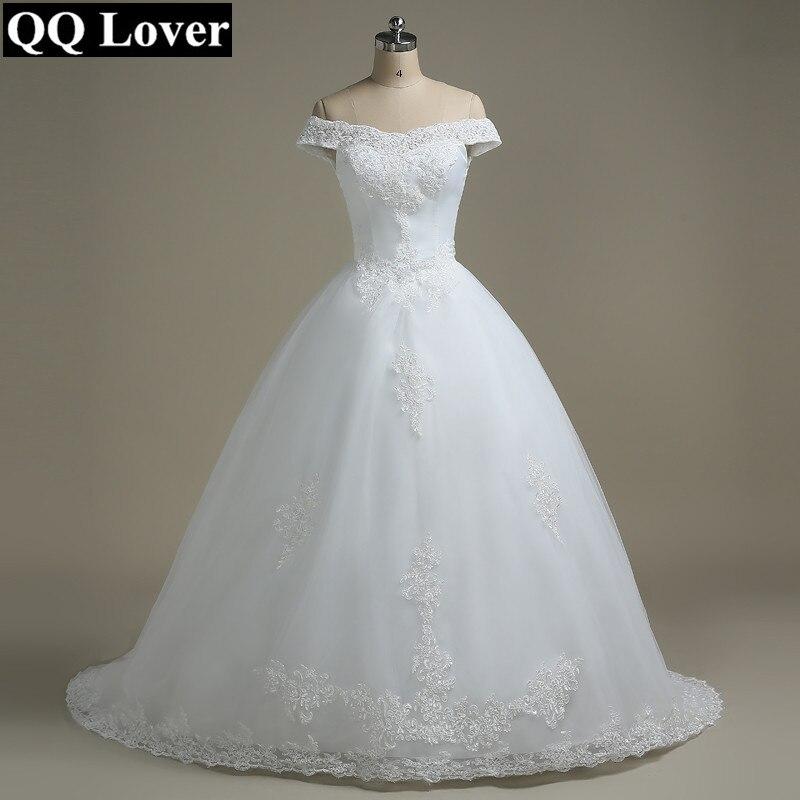 QQ 恋人オフショルダーのウェディングドレス Vestido デ Noiva ボートネック花嫁のウェディングドレス  グループ上の ウェディング & イベント からの ウェディングドレス の中 1