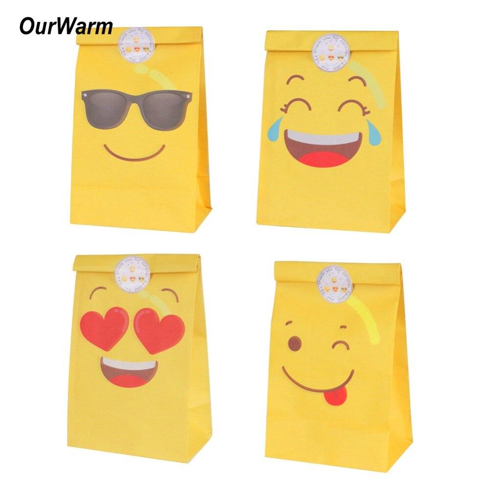 OurWarm 12 Adet Emoji Kağıt Hediye Çantası Emoji Parti - Tatiller ve Partiler Için