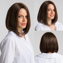 Элемент 12 дюймов синтетический парик смесь 50% человеческие волосы средний пробор Мода Косплей вечерние парики для женщин Средний размер крышки