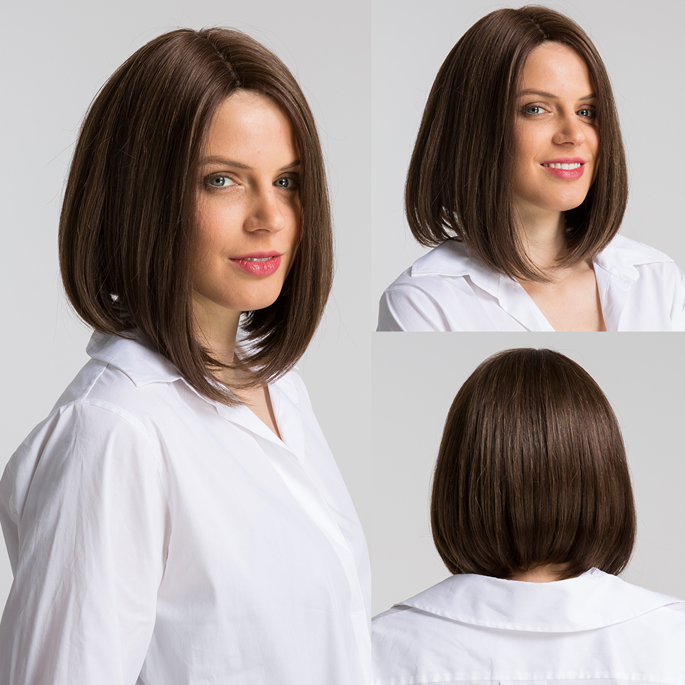 Element 12 Inch Synthetic Wig Blend 50% Human Hair Middle Parting Fashion Cosplay Party Work Bob Wigs For Women Average Cap Size