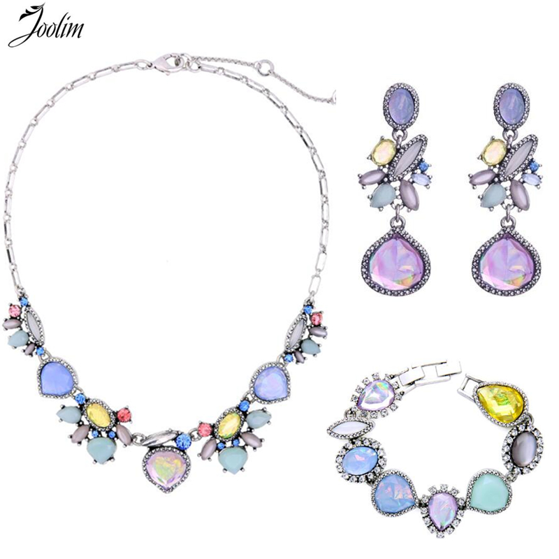 JOOLIM Jewelry Wholesale/ Black Friday Deal Super Gorgeous Cocktail Jewelry Set Necklace Bracelet Earring Set Jewelry Set joolim jewelry wholesale pink black flower choker collar necklace design jewelry wedding party jewelry drop shipping