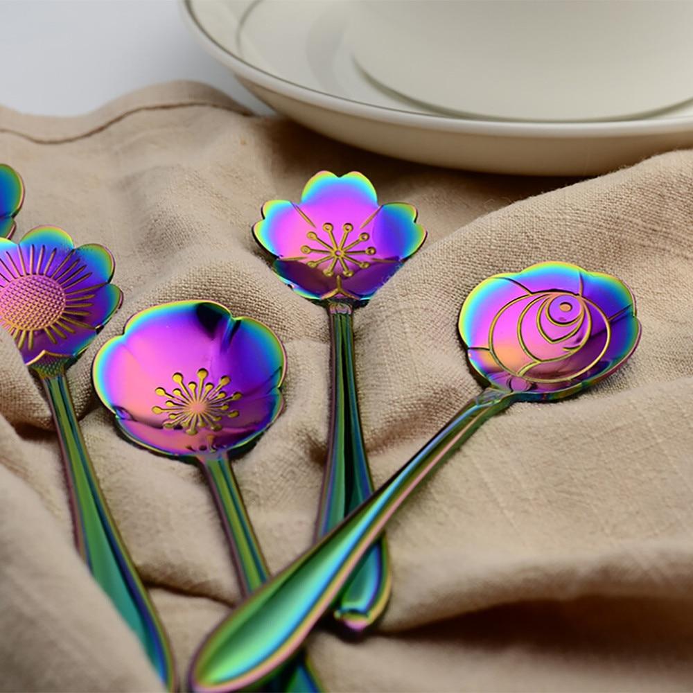 Красочные винтажный в форме цветка Футболка с принтом мороженого чайная, кофейная ложка для ресторан бар небольшой приправа творческие ложки сахара суп YL5