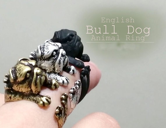1pcs New Summer Style Vintage Punk Pug Anillos Dog Ring Hippie Boho Knuckle French Bulldog Anel Rings For Women Men FineJewelry