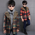 Top quality New Boys Winter Coat Fashion Double Breasted Solid Navy Green Red Kids Nizi Coats Jacket Boys Children Outerwear