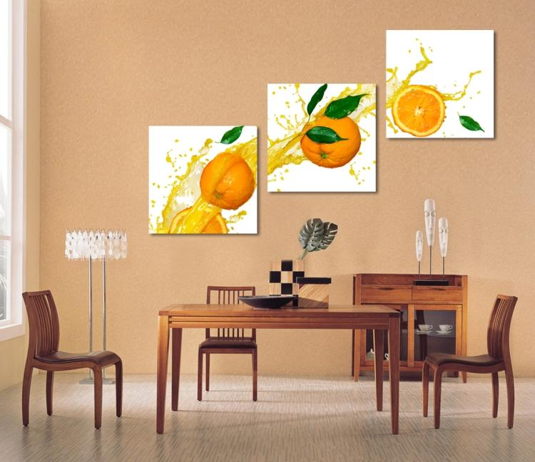 3 panels Canvas Fruits Painting orange Oil printed Canvas painting ...