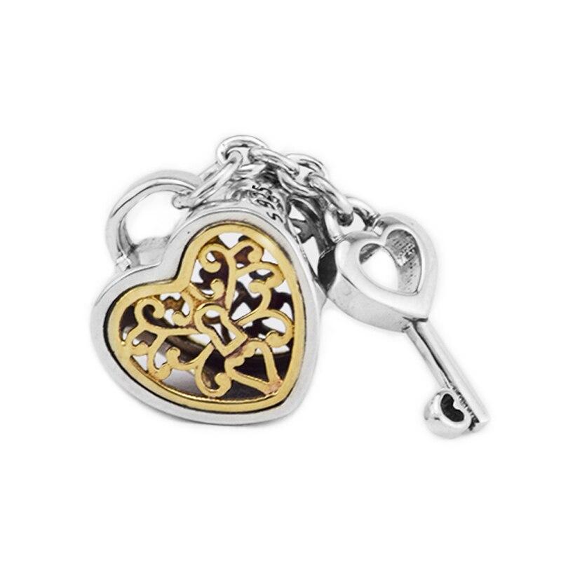 Perles 925 argent Sterling 14K clé serrure d'amour coeur charmes s'adapte à l'europe Bracelets charmes argent 925 Original perle fabrication de bijoux