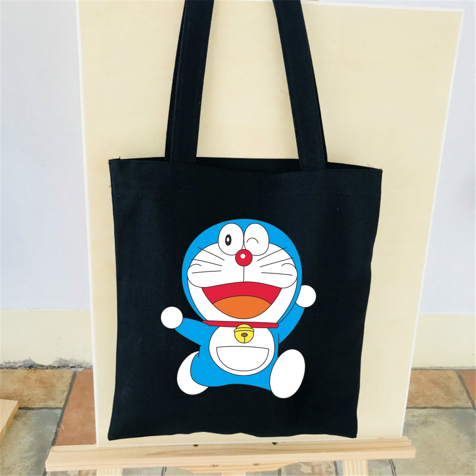 Doraemon Canvas Bag Cotton Funny Women Shoulder Bag Japan Animation Summer bag Female Students Simple Lovely Cartoon Black Bags