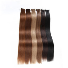 Brazilian Tape Hair Natural Human Straight Tape In Machine Made Remy Hair Skin Weft Extensions Bundles Pre Colored 40G GOOD HAIR(China)
