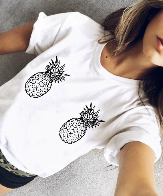 100% QualitäT Lustige Frauen Ananas Titten T Cartoon Gezogen Boobies Ananas Brust Frauen Haben Keine Notwendigkeit Titten Casual Tops Tumblr Mädchen T Hemd