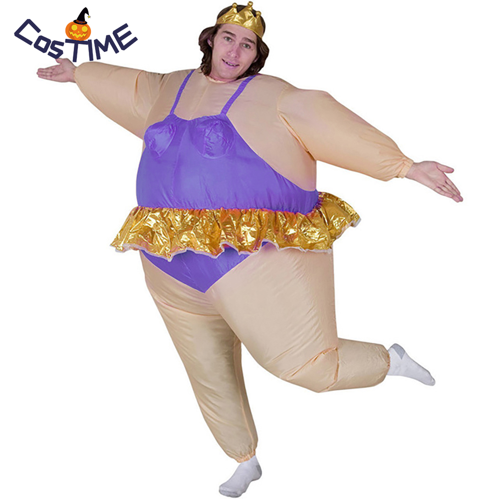 Adult Ballerina Inflatable Costume Funny Blow Up Fat Man Club Purple Ballet Dress Suit Party Fancy Dress Halloween costumes