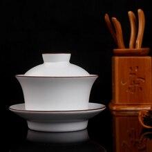 Jingdezhen Ding Kiln матовый белый коричневый обод белый керамический гайвань Gongfu заваривание чая чашка Gaiwan 160 мл керамический Tureen три чаши