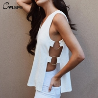 CWLSP Sexy White Summer Tank Top Women Latest Fashion Solid Top Side Open Rings Long Tshirt