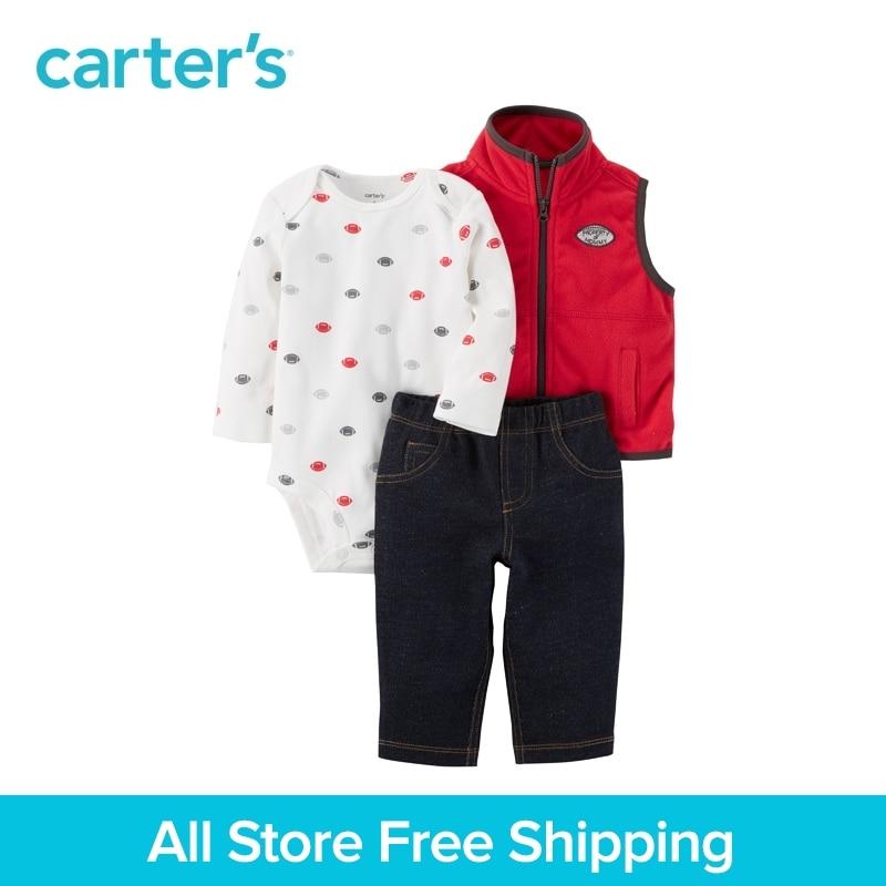 Carter's 3-Piece baby children kids clothing Boy Fall & Winter Little Vest Fleece Set 121H928 carter s 3 piece baby children kids clothing boy summer elephant babysoft bodysuit pant set 127g895