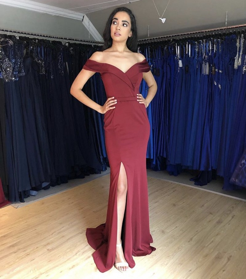 Burgundy V-Neck Off The Shoulder Sleeveless Zipper ack Mermaid Court Train   Prom     Dresses   Cheap Party Gowns For   Prom   Fast Shipping