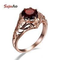 Szjinao Элитный бренд гранат кольцо чешского Прю 14 К розовое золото Обручальные кольца для Для женщин ручной работы Gypsy ювелирные изделия оптом
