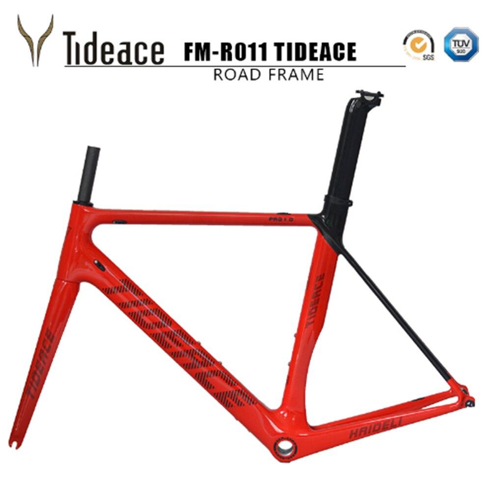 2018 Tideace carbone cadre de vélo en fiber de Di2 & Mécanique course vélo cadre de route en carbone + fourche + tige de selle + casque pour vélo de route en carbone