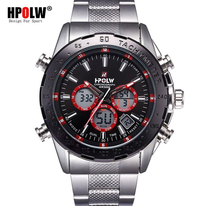 Men HPOLW Brand Luxury Sport Watch Men's Steel Wrist Watch Military Digital LED Watches Quartz Wristwatch Relogio Masculino hpolw серебристый цвет 11