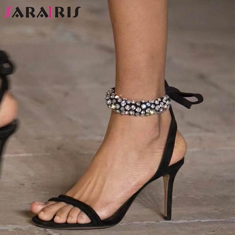 7c990c133f3b Femme Cristal Mode Sarairis Bureau Sandales Talons Sexy Daim Chaussures  Partie Lacets Hauts D'été En ...