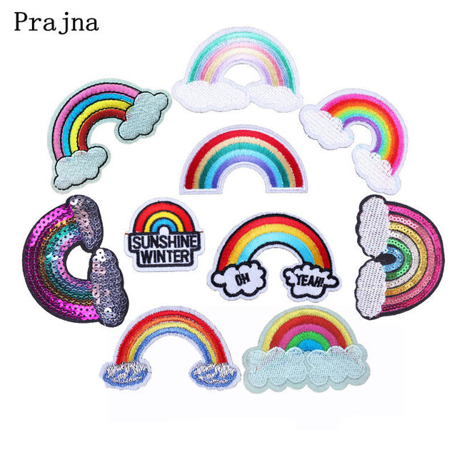 Prajna Rainbow Embroidered Iron On Patch For Clothes Sewing Patches