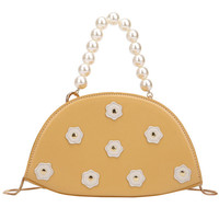 Women's Messenger Bag Korean Fashion Pearl Beaded Tote Printed Nail Buckle Pillow Shape Bag Cross body Bags D4