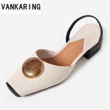 VANKARING new 2020 fashion summer genuine leather shoes women sandals sweet comfortable date dress party casual