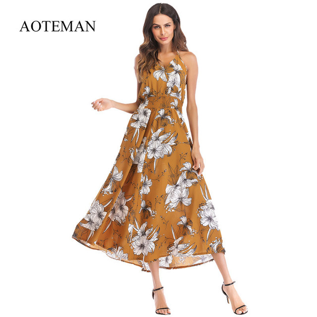 77bda695fa AOTEMAN Summer Dress Women 2019 Fashion Sexy Print Floral Vintage Long Dress  Ladies Elegant Boho Beach Party Dresses Vestidos