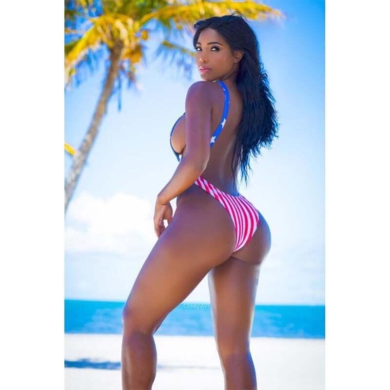 2019 American Flag Tummy One Piece Swimsuit Female Sexy Cut Out Swimwear Women Stripe Bathing Suit Swim Wear Leak Back Monokini Sports & Entertainment