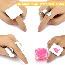 Salon Manicure Finger Ring Color Palette Make Up Cream Foundation Mixing Cosmetic Tool Stainless Steel Plate