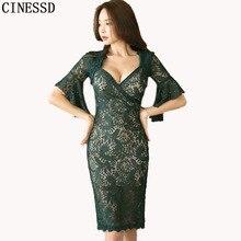 купить CINESSD Women Lace Sexy Party Bodycon Dress 2019 Summer Elegant Solid V-Neck Short Flare Sleeve Knee-Length Dress Vestidos по цене 887.01 рублей