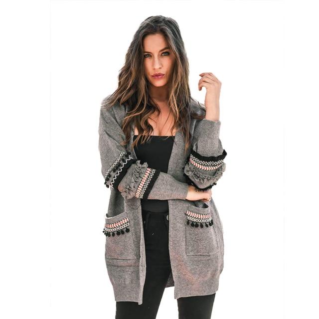 טלאים ארוך שרוול כיסים ארוך קרדיגן נשים בתוספת גודל 2018 סתיו חורף גדול סרוג סוודר נשי Jumper