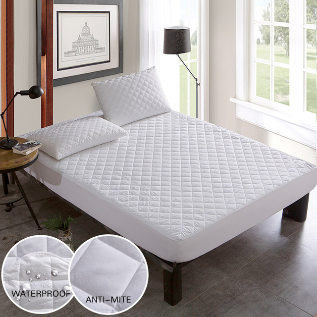 Brushed Fabric Quilted Bed Waterproof Cover Waterproof Knitting Mattress  Protector Cover For Bed Wetting Anti