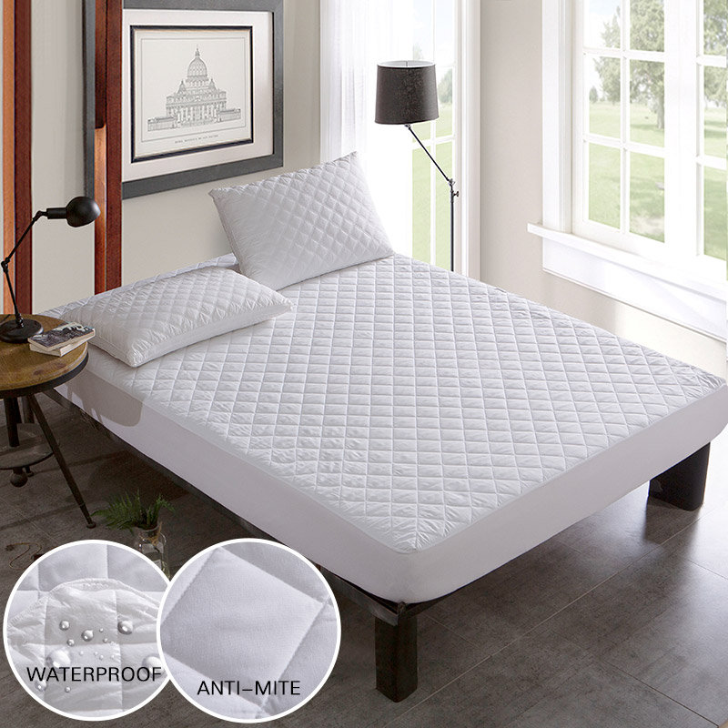 Brushed Fabric Quilted Bed Waterproof Cover Waterproof Knitting Mattress Protector Cover For Bed Wetting Anti-mite ...