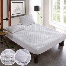 Protector de colchón acolchado de tela cepillada cubierta de cama colchón impermeable Topper para cama cubierta de colchón antiácaros copri rete letto