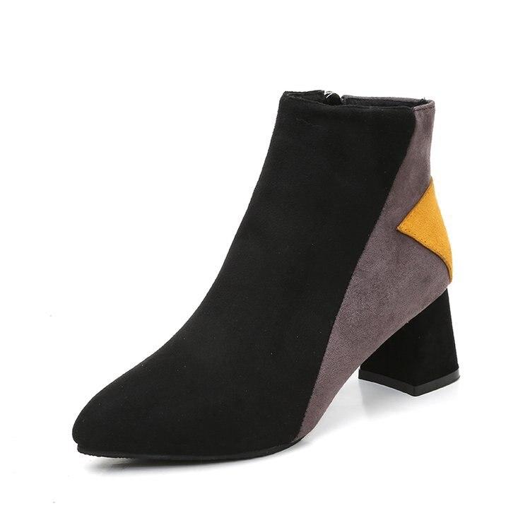 Femmes Manuel Pums Chunky Talons Chaussures Dames Travail 1 2 Couleur Automne Correspondant Hiver Pompes Talon 2018 Retour Anciens Aux Lwo 6F7nqxwta