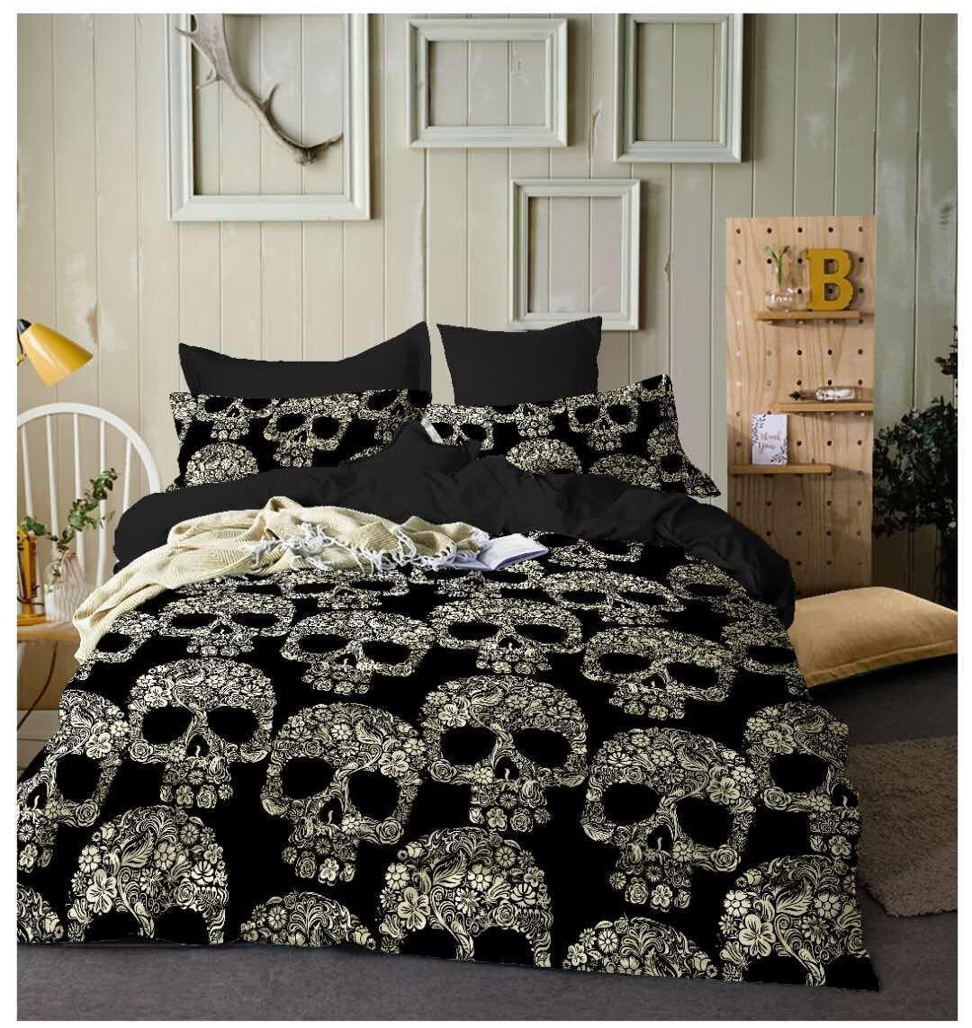 Fashion Design 3d Human Skeleton Head Four Paper Polyester Bedding Set Article Suite Three-piece Popular Market In U.