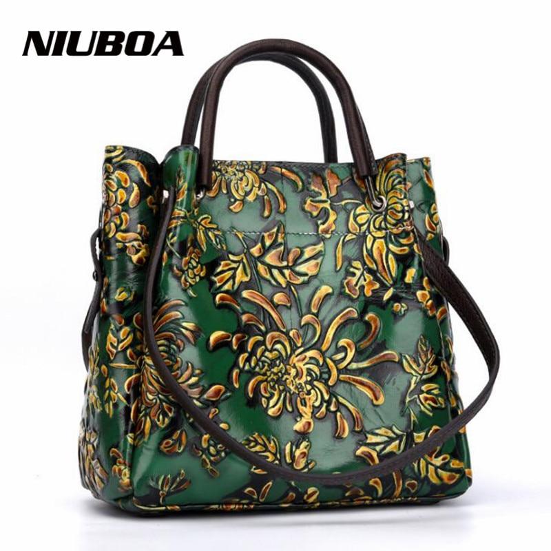 NIUBOA New Luxury Genuine Leather Bag Woman Handbags Tote Vintage Folk custom Print Lady Shoulder Bag