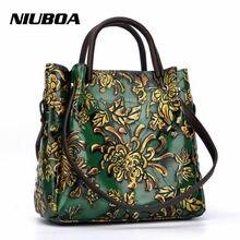 03c2fafd099cf NIUBOA nowa luksusowa torba ze skóry naturalnej kobiety torebki dużego  ciężaru Vintage Folk-custom Print pani torba na ramię tło.