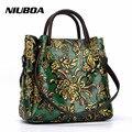 NIUBOA New Luxury Genuine Leather Bag Woman Handbags Tote Vintage Folk-custom Print Lady Shoulder Bag Embossed Cowhide Skin Bags
