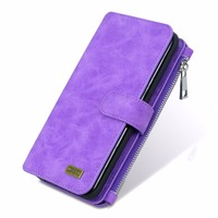 MEGSHI Two In One Luxury Leather Metal Zipper Removable Wallet Case For Samsung S6 S7 Edge