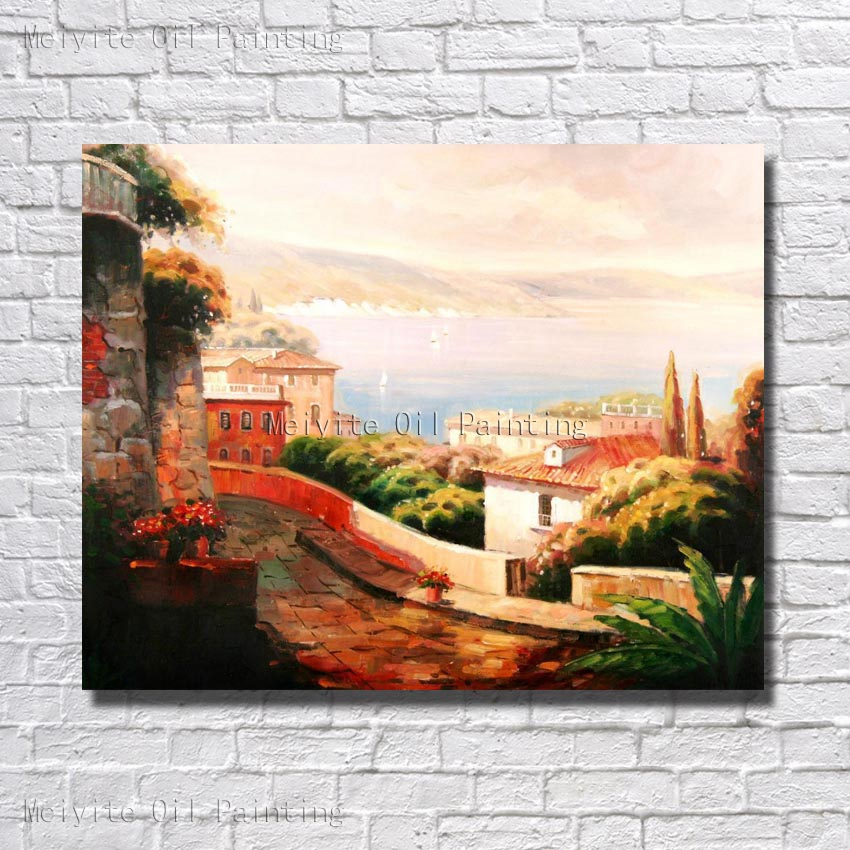 Wall decor hand painted oil painting on canvas beautiful - Landscape paintings for living room ...