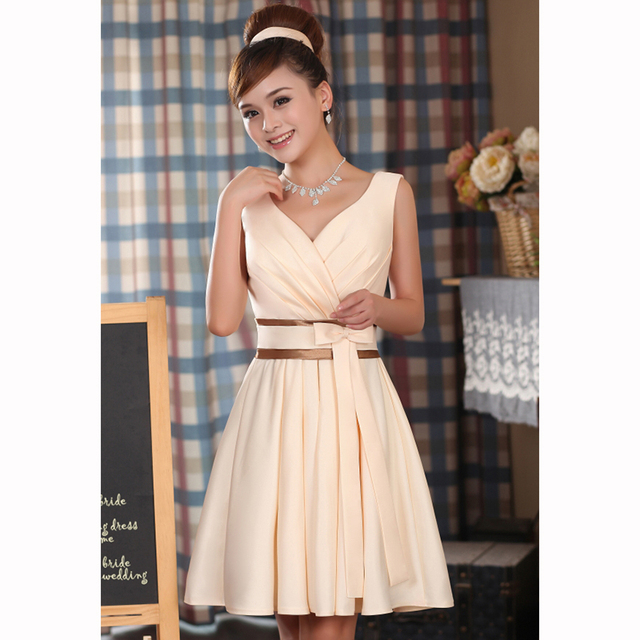 2017 nova moda feminina cor champanhe v-neck projeto short party dress plus size vestidos vestidos de baile