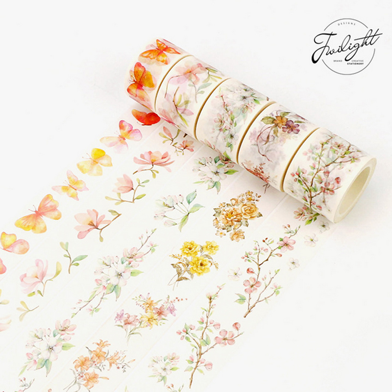 2.5-3.5cm*8m Beautiful Flower With Butterflies Washi Tape DIY Decorative Scrapbook Planner Masking Tape Adhesive Tape Stationery