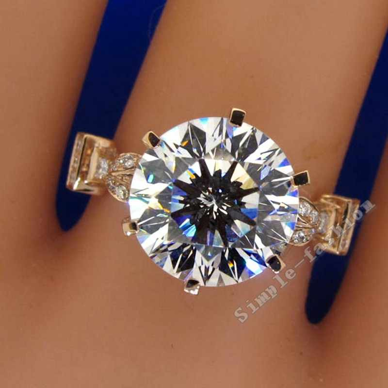 เครื่องประดับ Rose Gold รอบตัด 2ct หิน AAAAA zircon CZ 925 เงินสเตอร์ลิงแหวนหมั้นแหวนแต่งงานสำหรับผู้หญิง