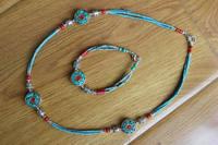 NK198 Handmade Nepal Mini Beaded Necklace Bracelet Set Ethnic Tibetan Women Chokers Necklace