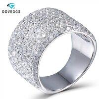 DovEgggs Подлинная 14 к 585 Белое золото 3 4CTW Moissanite Diamond обручение обручальное Обручальное кольцо в стиле унисекс ювелирные украшения