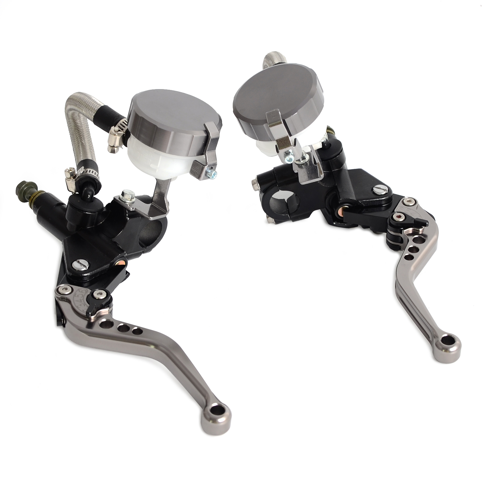 "Image 2 - NICECNC Universal Motorcycle 7/8""Clutch Brake Levers Master Cylinder Oil Fluid Reservoir Motocross Enduro Supermoto Dirt Bike-in Levers, Ropes & Cables from Automobiles & Motorcycles"